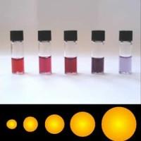 Soluciones coloidales de partículas de oro de diferentes tamaños. Variaciones de color de la solución