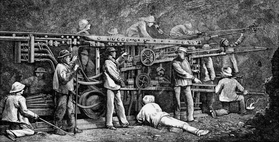 Jumbo neumático, túnel de Mont-Cenis (1857-1870, 13 km)